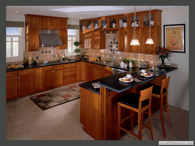 ALL WOOD CUSTOM KITCHEN CABINETSbr SHAKER STYLE IN CHERRY WITH CABINET ON